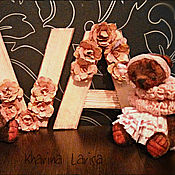 Куклы и игрушки ручной работы. Ярмарка Мастеров - ручная работа Пара мишек в подарок на свадьбу или рождение малыша с инициалами. Handmade.