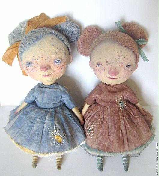 Коллекционные куклы ручной работы. Ярмарка Мастеров - ручная работа. Купить Фрося и Глаша. Handmade. Коричневый, домовой, опилки