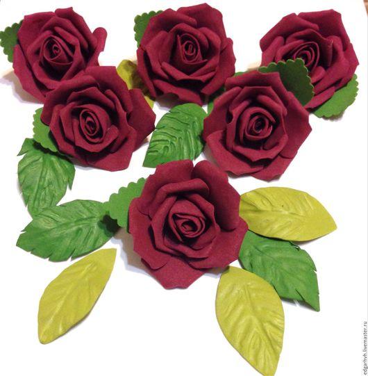 Материалы для флористики ручной работы. Ярмарка Мастеров - ручная работа. Купить Розы бордовые, 10 штук в наборе, ручная работа. Handmade.