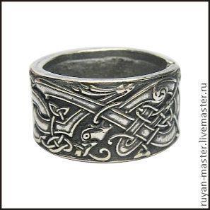 """Кольца ручной работы. Ярмарка Мастеров - ручная работа. Купить кольцо """"Кельтские сторожевые псы"""". Handmade. Перстень, оберег, серебряный"""
