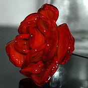 Украшения ручной работы. Ярмарка Мастеров - ручная работа брошь Красная роза.. Handmade.