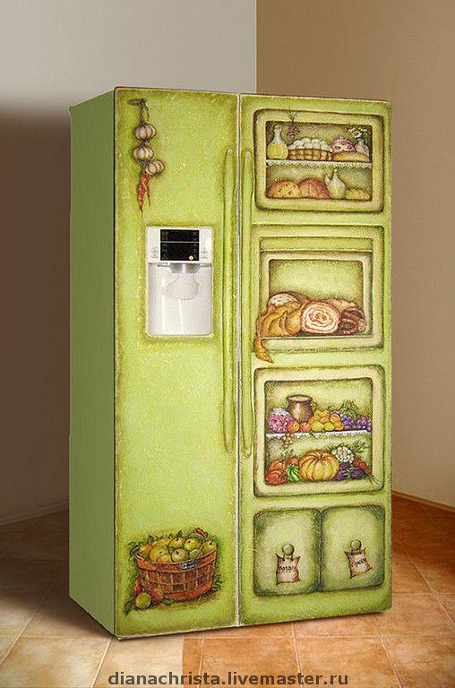 """Броши ручной работы. Ярмарка Мастеров - ручная работа. Купить Роспись холодильника в стиле """"Кантри"""".. Handmade. Акрил"""