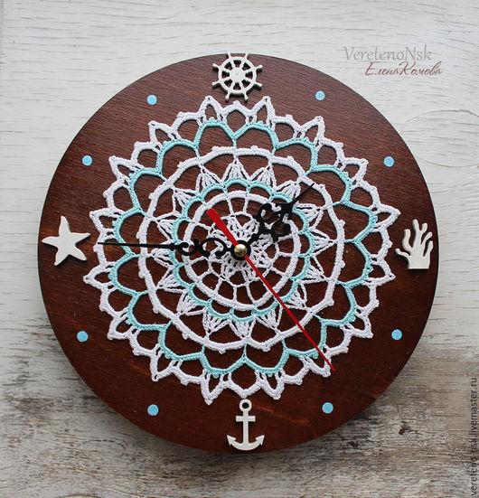 """Часы для дома ручной работы. Ярмарка Мастеров - ручная работа. Купить Часы деревянные настенные """"Путеводная звезда"""", вязаный ажурный декор. Handmade."""
