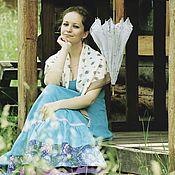 """Одежда ручной работы. Ярмарка Мастеров - ручная работа Льняная юбка """"Бирюзовые сны"""". Handmade."""