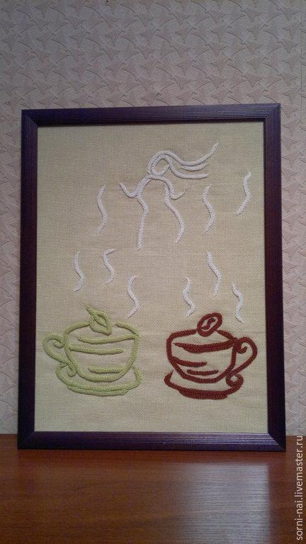 """Натюрморт ручной работы. Ярмарка Мастеров - ручная работа. Купить """"Чай? Кофе? Потанцуем?"""" картина из шнуров. Handmade. Картина, кофе"""