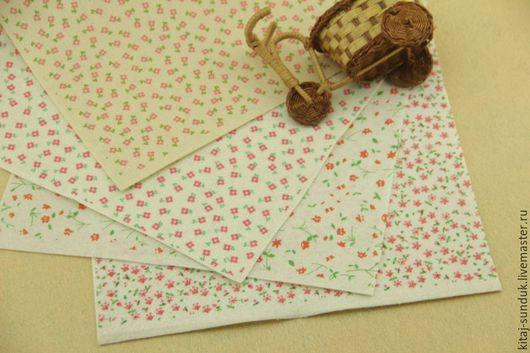 Валяние ручной работы. Ярмарка Мастеров - ручная работа. Купить Фетр с принтом Красные цветочки 1мм 30х30 см. Handmade.