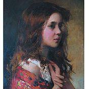 Картины и панно ручной работы. Ярмарка Мастеров - ручная работа маленькая девочка в красном платке. Handmade.
