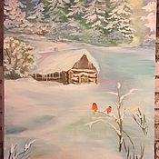 Картины и панно ручной работы. Ярмарка Мастеров - ручная работа Пейзаж маслом Домик в лесу. Handmade.