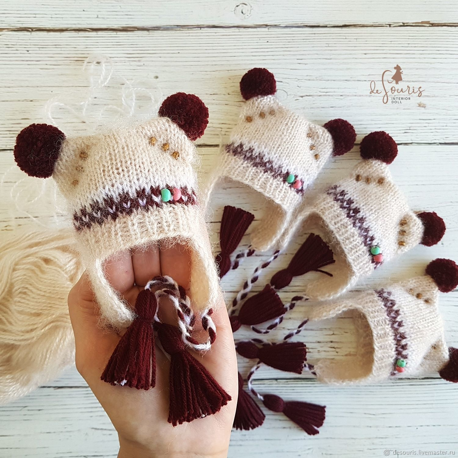 hat for doll,knitted hat, clothing for dolls, headgear for dolls, doll clothing.