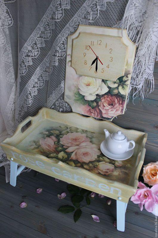 """Мебель ручной работы. Ярмарка Мастеров - ручная работа. Купить Столик-поднос+часы """"Пройдемте в сад?я покажу вас розам"""". Handmade."""