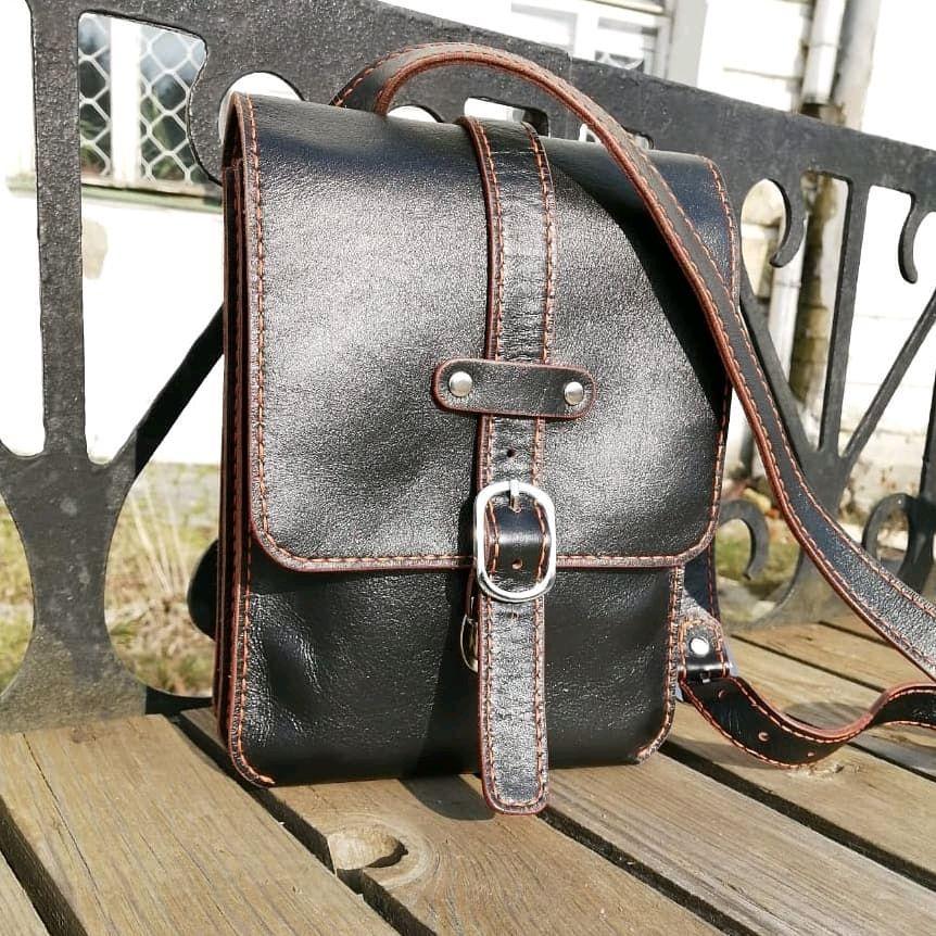 Мужская чёрная кожаная сумка через плечо, Мужская сумка, Подольск,  Фото №1
