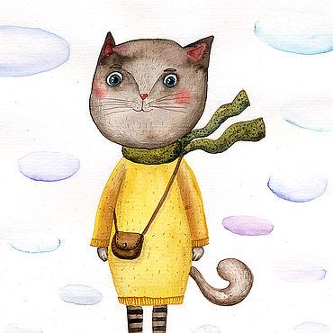 """Картины и панно ручной работы. Ярмарка Мастеров - ручная работа Иллюстрация """"Мисс Китти в платье-свитере"""". Handmade."""
