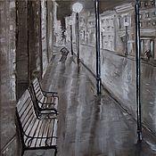 """Картины ручной работы. Ярмарка Мастеров - ручная работа Картина маслом """"Ночной дождь"""". Handmade."""