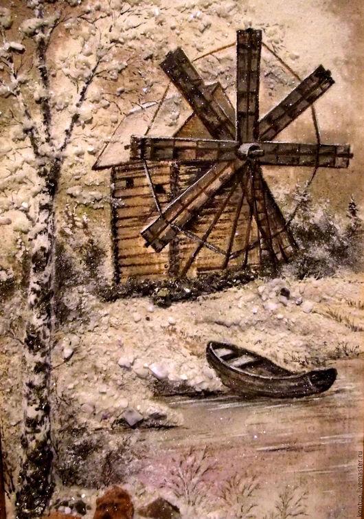 """Пейзаж ручной работы. Ярмарка Мастеров - ручная работа. Купить картина из камня """"Мельница"""". Handmade. Коричневый, подарок"""