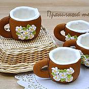 """Сувениры и подарки ручной работы. Ярмарка Мастеров - ручная работа """"Весенние цветы"""" - пряничные чашечки для кофе или чая. Handmade."""