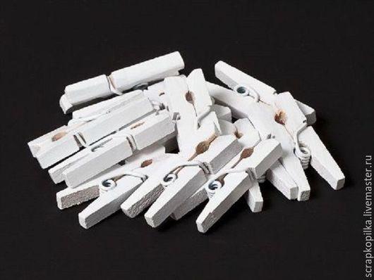 Прищепки деревянные Scrapberry`s Белые 2,5см (12 шт.) SCB26711502