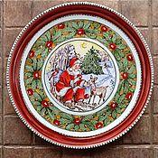 Посуда ручной работы. Ярмарка Мастеров - ручная работа Новогоднее блюдо с росписью. Новогодний подарок. Handmade.
