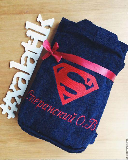 Подарки на свадьбу ручной работы. Ярмарка Мастеров - ручная работа. Купить Именной халат супермен (вышивка). Handmade. Белый