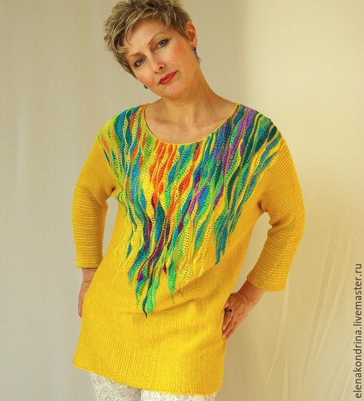 """Кофты и свитера ручной работы. Ярмарка Мастеров - ручная работа. Купить Джемпер """"Солнце.""""продан. Handmade. Желтый, большой размер, хлопок"""