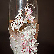 Свадебный салон ручной работы. Ярмарка Мастеров - ручная работа Свадебные бокалы  из полимерной глины, бокалы на свадьбу с  бабочками. Handmade.