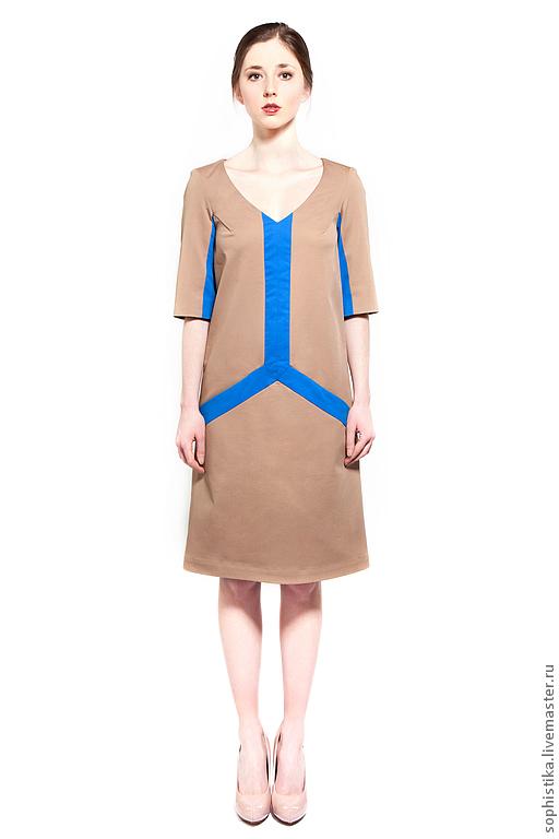 Платья ручной работы. Ярмарка Мастеров - ручная работа. Купить -77%. Хлопковое платье с васильковыми вставками. Handmade. Бежевый, платье