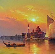 "Картина маслом на холсте ""Рассвет Венеции"" 40/80см"