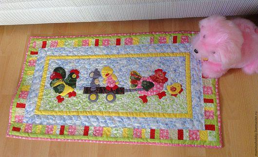 Новый год 2017 ручной работы. Ярмарка Мастеров - ручная работа. Купить Лоскутное панно или коврик для детской Едем, едем на тележке. Handmade.