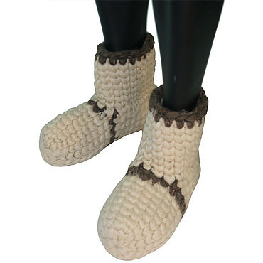 Footwear handmade. Livemaster - original item Knitted slippers for home made of natural sheep wool. Handmade.