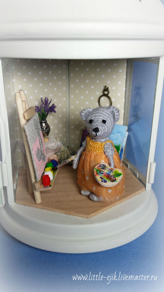 """Кукольный дом ручной работы. Ярмарка Мастеров - ручная работа. Купить Румбокс в фонарике """"Мастерская художницы"""". Handmade. Комбинированный, картина"""