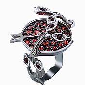 Украшения handmade. Livemaster - original item Power of life.  925 silver ring with garnets. Handmade.