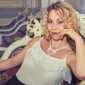 Свадебный салон handmade. Livemaster - original item Wedding soutache necklace Subtle rose with rose quartz white. Handmade.
