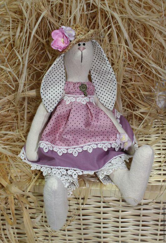 Куклы Тильды ручной работы. Ярмарка Мастеров - ручная работа. Купить Зайчиха в соломенной шляпе. Handmade. Сиреневый, зайчиха