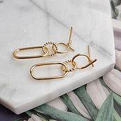 Материалы для творчества handmade. Livemaster - original item Earrings studs 31x9 mm gold plated (4551). Handmade.