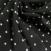Материалы для творчества handmade. Livemaster - original item Fabric: Viscose - white polka dots on black. Handmade.