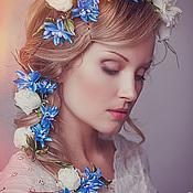 """Комплект """"ИВАННА-2"""" - венок на голову и бутоньерка. Цветы из шелка."""