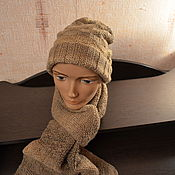 Шарфы ручной работы. Ярмарка Мастеров - ручная работа Шапка и шарф коричневый меланж. Handmade.