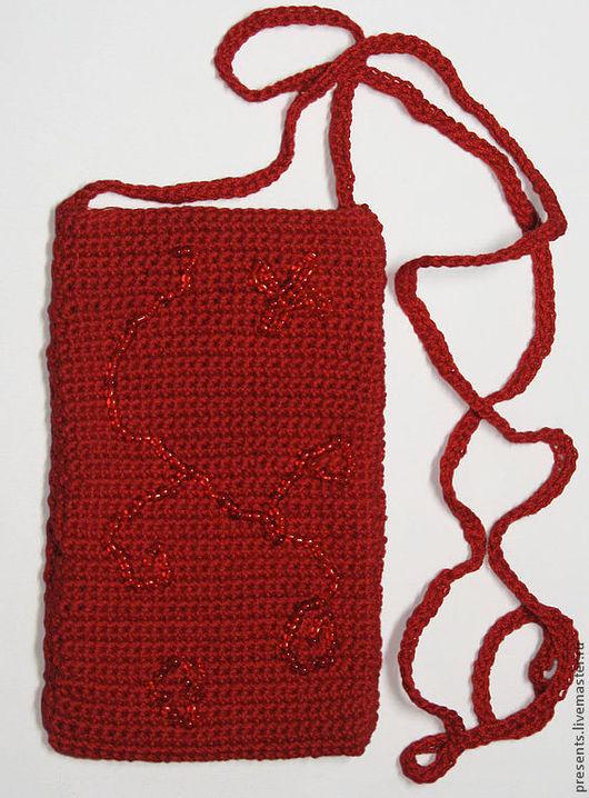 Для телефонов ручной работы. Ярмарка Мастеров - ручная работа. Купить Вязанная сумочка для сотового телефона. Handmade. Ярко-красный