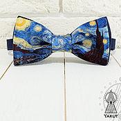 Аксессуары ручной работы. Ярмарка Мастеров - ручная работа Галстук бабочка Ван Гог / бабочка-галстук синяя. Handmade.