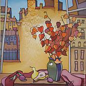 """Картины и панно ручной работы. Ярмарка Мастеров - ручная работа Батик панно """"Окно. Солнце в Питере"""".. Handmade."""