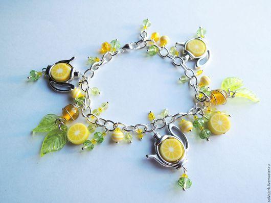 """Браслеты ручной работы. Ярмарка Мастеров - ручная работа. Купить Браслет """"Чай с лимоном"""". Handmade. Желтый, зеленый чай, листики"""