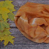 Аксессуары ручной работы. Ярмарка Мастеров - ручная работа Шарф батик Рыжая осень, шерсть с кашемиром, теплый шарф. Handmade.