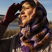 Аксессуары handmade. Livemaster - original item Women`s Snood scarf trumpet collar warm knitted Purple. Handmade.