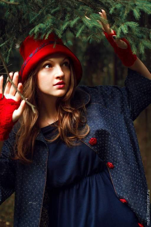 """Шляпы ручной работы. Ярмарка Мастеров - ручная работа. Купить Шляпа"""" Красная шапочка"""". Handmade. Ярко-красный, велюровая шляпа"""