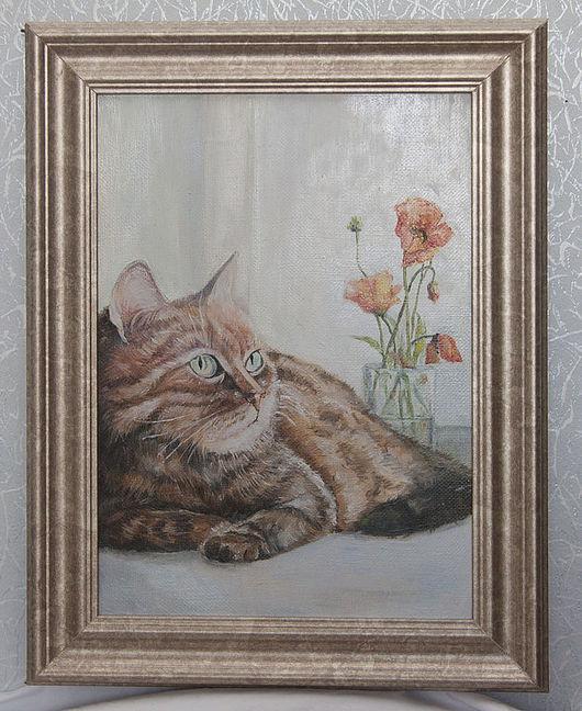 """Животные ручной работы. Ярмарка Мастеров - ручная работа. Купить """"Добрый кот"""". Handmade. Картина в подарок, картина, кот"""