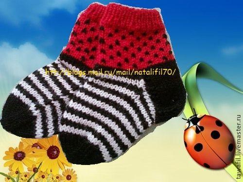 """Носки, гольфы, гетры ручной работы. Ярмарка Мастеров - ручная работа. Купить носочки """"Божая коровка"""". Handmade. В полоску"""