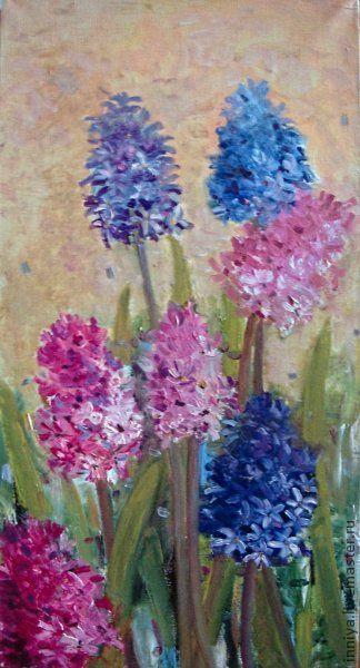 """Картины цветов ручной работы. Ярмарка Мастеров - ручная работа. Купить картина """"Гиацинты"""". Handmade. Гиоцинты, цветы, букет"""