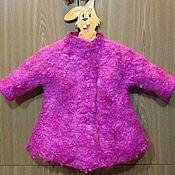 Работы для детей, ручной работы. Ярмарка Мастеров - ручная работа Пальто из шерсти зимнее детское Фуксия. Handmade.
