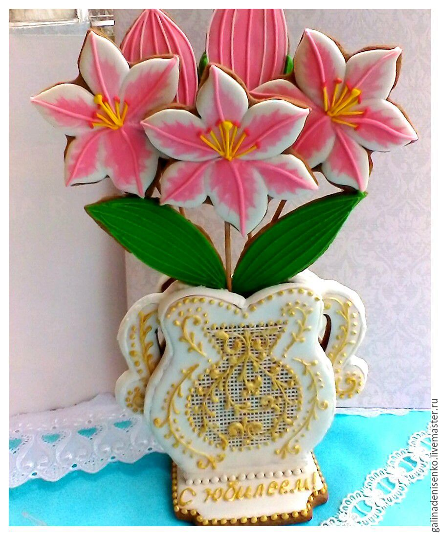 The carrot ginger Vase with lilies, Gingerbread Cookies Set, Rostov-on-Don,  Фото №1