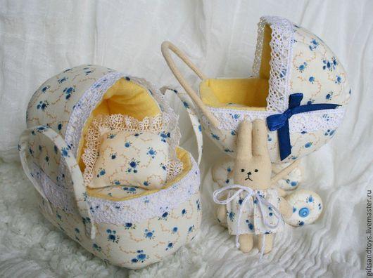 Кукольный дом ручной работы. Ярмарка Мастеров - ручная работа. Купить Колясочка, переноска и зайчик. Набор для девочки. Handmade. Голубой