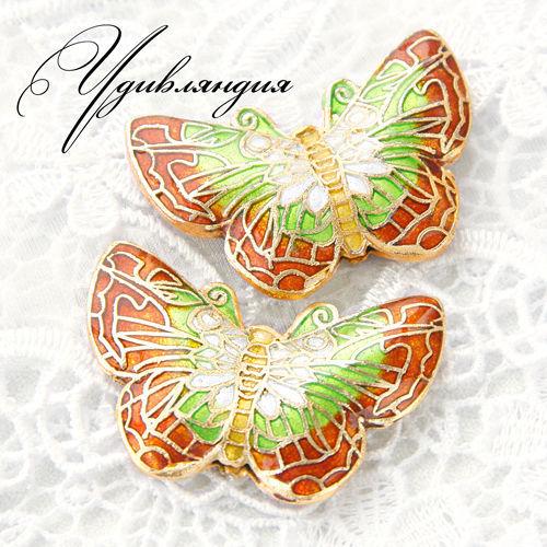 Для украшений ручной работы. Ярмарка Мастеров - ручная работа. Купить Большие бусины клуазонне «Зеленая бабочка» №43.. Handmade.